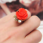 Sweet Cute Retro Vintage Rose Flower with Crystal Rhinestone Adjustable Ring LX