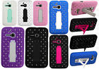 For Alcatel OneTouch Evolve HYBRID IMPACT KICK STAND Dazzling Diamond Case Cover