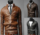 Stand Collar PU LEATHER Locomotive Jacket Men Winter Coat Overcoat SIZE XS S M L