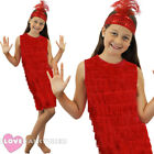 GIRLS RED FLAPPER DRESS AND HEADPIECE 1920S FANCY DRESS CHARLESTON COSTUME S-XL