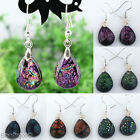 2x Colorful Dichroic Foil Lampwork Glass Teardrop Dangle Women Hook Earring 22ga