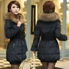 Women Fur Hood Long Coat Cotton Padded Jacket Outerwear Plus Size Wintercoat Top
