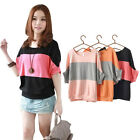 Women Classic Stripes Short Batwing Sleeve Tee Loose Casual Blouse Shirt Tops