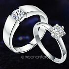 S925 Sterling Silver Lovers Couples Ring Zircon Ornament Engagement Wedding Band