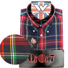 Warrior OiOi7 Short Sleeve Button Down Shirt PISTOLS Mod Skinhead Red Blue Green