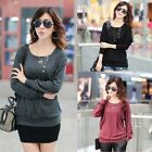 Women Casual Button Crew Neck Batwing Sleeve Large Size Bottoming T-shirt Shirt