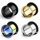 Mixed 18pc 2-14mm Stainless Steel Horn Hollow O Ring Tunnels Ear Plugs Piercing