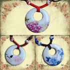 3 Kinds Patterns Ethnic Style Hollow Porcelain Ceramics Pendant Necklace Jewelry