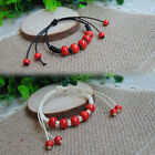 2 kinds Rope Festive Red Beads Ethnic Style Ceramic Bracelet Jewelry Hand-beaded