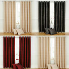 Metallic Thread Stripe Pair Of Ring Top Lined Curtains In Natural, Red, Silver