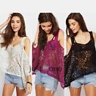 Fashiuon Sexy Women Plain Flowers Lace Strap Loose Style V Neck T-shirt Wrap Top