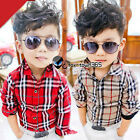 Spring Autumn Child Kids Toddlers Boy Classic Plaid Long Sleeve Shirt Top 3-8Y
