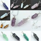 Gemstone Silver Cord Healing Chakra Cut Crystal Wired Pendant Beads For Necklace