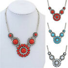 Fashion Jewelry Crystal Chunky Statement Pendant Bib Necklace Silver Plate Chain
