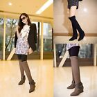 Women Vintage Pointed Toe Wedge High Heel Buckle ZIP Over the Knee High Boots