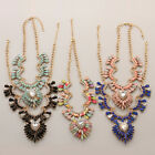 Blue Black Pink Pear Marquis Stone Clear Crystals Gold Plated  Necklace 5 colors