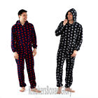 Mens Hooded Fleece Star Onesie All In One Loungewear Size Small, Medium, Large