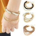 Womens Gold Chain Braided Rope Multilayer Charm Bracelet Bangle Handmade Chain