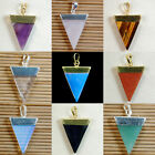 Natural Gemstones Triangle Pointed Sliced Reiki Chakra Healing Pendant Beads