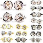 Gold Silver Wedding Watch Movement Cufflinks Steampunk Vintage Clockwork Working