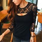 Sexy Women Long Sleeve Lace Black Shirt Flared Blouse Top Sexy T-shirt Plus Size