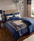 Navy Blue Duvet Cover Bedding Bed Set & OR Curtains OR Bedspread COTTON RICH