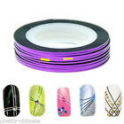 2/10/30 Purple Nail Art Metallic Hollographic Tape Foils Striping Decal Stickers