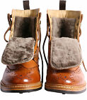 Harrytech London (HT 7064)Mens Real Lamb Fur Brogue Goodyear Welted Dainite Boot