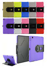 360 Rotating Stand Defender Rubber Heavy Duty Hybrid Hard Case Cover For iPad