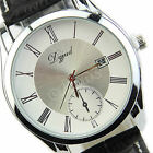 Men's Fashion Stainless Steel Dial Date Leather Band Sport Quartz Wrist Watch