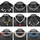 Womens Crystal Pendant Bead Choker Metal Chain Statement Bib Party Necklace Gift