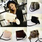 Women Crossbody Faux Fur Hanging Decoration Solid Color or Leopard Shoulder Bag