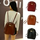 Women Girl Faux Leather Bow Decoration Large Capacity Schoolbag Backpack Bookbag