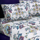 Hemstitched Abstract Paisley Printed Deep Pocket Flannel Sheet Set or Pillowcase