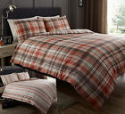 Shrewsbury Check Stripe Fully Reversible Duvet Cover Set, Terracotta Mocha Cream