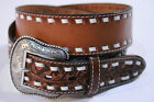 Nocona Acorn NAME BELT Leather Laced Western Vintage Leather Classic