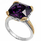 Two Tone Amethyst DESIGNER Fashion COCKTAIL .925 Sterling Silver Ring Size 6-10
