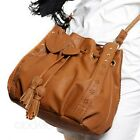 Faux Leather Cross Body Bucket Tote Bag Vintage Shoulder Handbag Drawstring