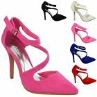 LADIES WOMENS HIGH HEEL POINTY TOE STILETTO SANDALS ANKLE STRAP COURT SHOES SIZE