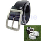 Fashion  Mens Leatherette Solid Premium Textured Metal Buckle Belt Waistband New