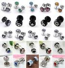 Round Disc Stainless Steel Ear Stud Earring Fake Cheater Barbell