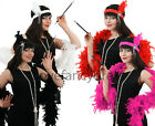 LADIES FLAPPER FANCY DRESS SET HEADBAND FEATHER BOA PEARL NECKLACE CIG HOLDER