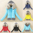FREE SHIPPING Women's Warm Winter Coat Fur Collar Hooded Jacket Coat Down Jacket