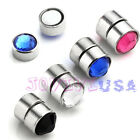 Mens Steel Magnetic Crystal Fake 6g Ear Stud Nose Lip Ring Clip(No Piercing)