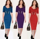 Womens Pinup Stretch Tunic Business Casual Work Party Sheath Pencil Dress
