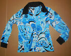NWT Long Sleeve Blue  60's Style dance shirt open collar Silver foiling ch/men