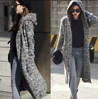 Vintage Womens Thicken Long Knitting Trench Jacket Sweater Hooded Cardigan New