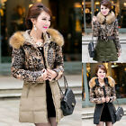 Women's Winter Warm Thicken Leopard Hooded Coat Lacket Parkas Coat Plus XL