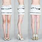 VIRGIN ONLY  White denim mini skirt in blue tie dye touch six pocket style