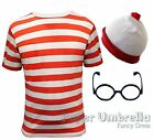 Childrens Boys Girls Red White Striped T Shirt Fancy Dress Costume Book Week
